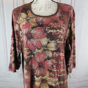 Floral Beaded Pullover Knit Blouse